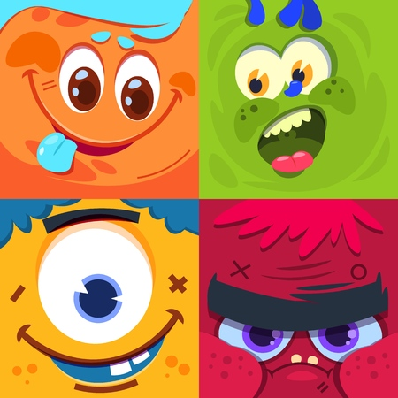 Cartoon monster faces. Scary carnival alien monsters masks. Vector characters set monster face, happy funny alien creature illustration