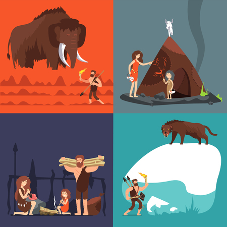 Stone age concepts. Prehistoric ancient human and tools. Primitive man in cave vector cartoon set. Illustration of prehistoric primitive caveman, ancient spear, hunting neanderthal  イラスト・ベクター素材