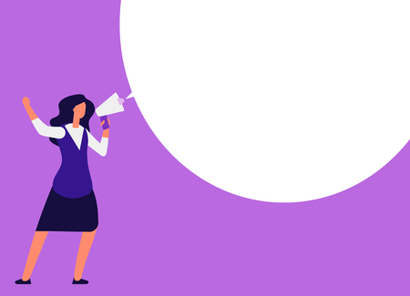 Businesswoman with megaphone. Woman shouting in bullhorn with speech bubble for message. Announcement, event marketing vector concept. Megaphone and speech message bubble communication illustration