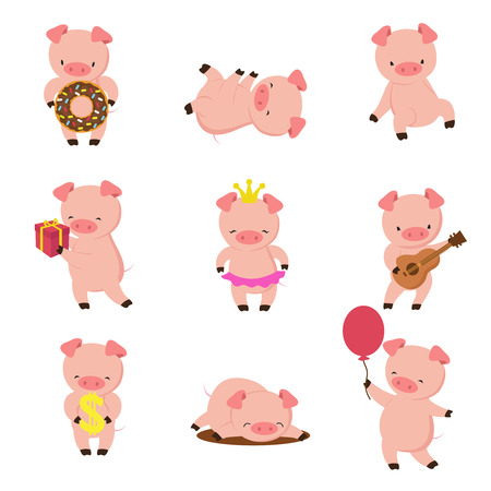 Kawaii pigs. Funny baby pig in mud, piggy eating and running. Cartoon swine vector character Imagens