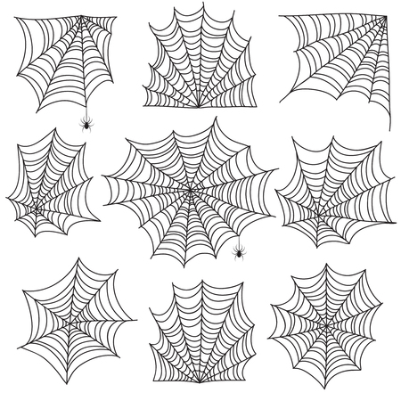 Spiderweb. Spooky cobweb and web corners with spider. Halloween vector icons isolated on white background. Spooky corner for halloween, scary spider silhouette illustration