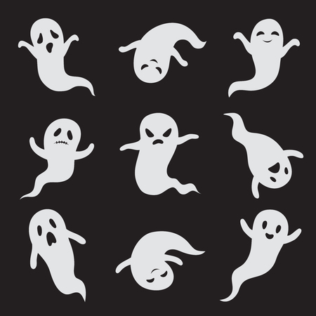 Ghost. Halloween ghostly faces. Spooky monster vector isolated icons. Ghost white face, spooky and scary illustration