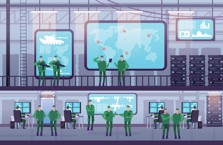 Military control center. People working with computer in government office. Futuristic control center with monitor. Vector illustration. Army base and center security military, controller geolocation