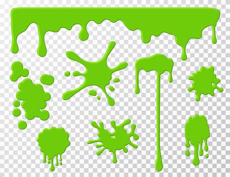 De la boue dégoulinante. La morve liquide dégoulinant de goo vert, les taches et les éclaboussures Dessin animé slime splodges vector set isolé. Illustration de goutte à goutte, de slime et de goutte, tache de tache verte Vecteurs