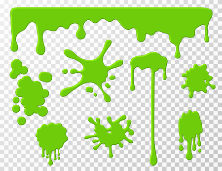 Dripping slime. Green goo dripping liquid snot, blots and splashes. Cartoon slime splodges vector set isolated. Illustration of liquid drip, slime and drop, blob stain green