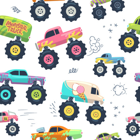 Monster cars seamless pattern. Kid trucks with big wheel. Vector endless background. Pattern and background seamless, monster car with large wheel illustration