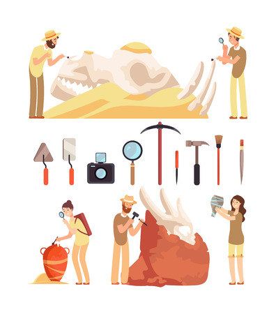 Archaeology work. Paleontologist discover historic artifacts. Archaeologist works with archaeologic tools. Vector characters set of people archaeologica professor and instruments illustration
