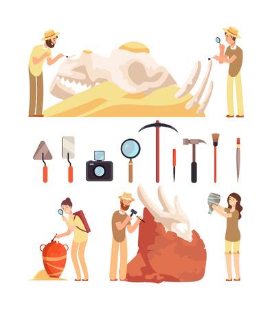 Travaux d'archéologie. Les paléontologues découvrent des artefacts historiques. L'archéologue travaille avec des outils archéologiques. Caractères vectoriels ensemble de personnes professeur d'archéologie et illustration d'instruments Vecteurs