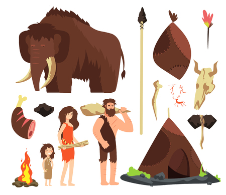 Caveman. Cartoon neolithic people characters. Prehistoric neanderthal family with animals and weapons. Isolated vector set. Mammoth and hut, neanderthal ancient people illustration