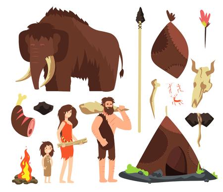 Cavernícola. Personajes de dibujos animados de personas neolíticas. Familia neandertal prehistórica con animales y armas. Conjunto de vectores aislados. Mamut y cabaña, ilustración de los pueblos antiguos neandertales