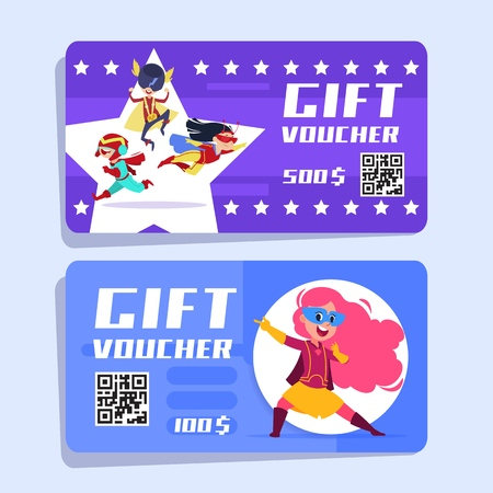 Superhero kids gift voucher. Superheroes children vector banners. Illustration of gift special certificate, offer price coupon