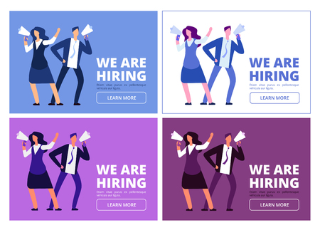 We are hiring concept. Man and woman with megaphone shouting for interview. Business recruitment vector background. Hiring human, hr and interview illustration