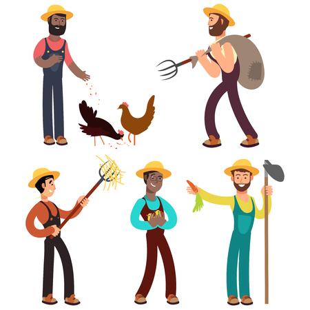 Karikaturvektorillustration des internationalen Bauernteams. Landwirt Charakter Beruf, Beruf Landwirt