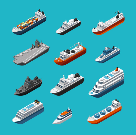 Passenger and cargo ships, sailing boats, yachts and vessels isometric vector transportation icons isolated. Liner and tugboat, tanker shipping, steamboat illustration Çizim