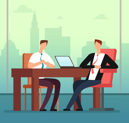 Employee man and interviewer boss meeting in office. Job interview and recruitment vector cartoon concept. Meeting employee, interview and recruitment illustration