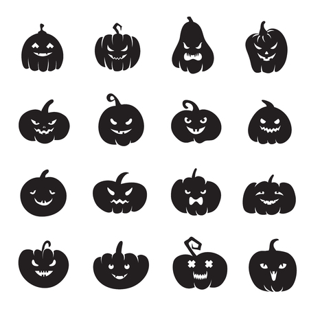 Halloween pumpkin faces. Scary pumpkins bloody with evil smile and eyes. Pumpkin black silhouette to halloween holiday illustration Stock Photo