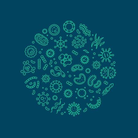 Microbes, viruses, bacteria, microorganism cells and primitive organism line vector concept. Virus cell and microbe, bacteria organism, medical microscopic illustration Vector Illustration