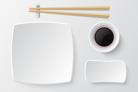Palillos y plato de sushi vacío. Maqueta de vector de platos de restaurante asiático. Restaurante de platos japoneses para la cena ilustración de comida