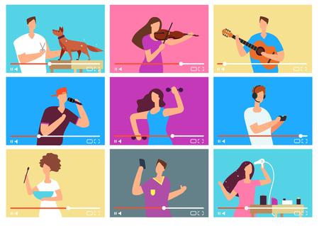 Video tutorials. People bloggers on video screen. Social media marketing. Tuber vector characters set. Tutorial blogger, blog online, web vlog illustration