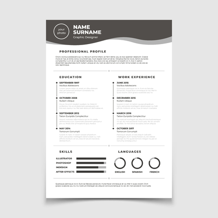 Cv resume. Document for employment interview. Vector business design template. Resume for interview in company corporate illustration 일러스트