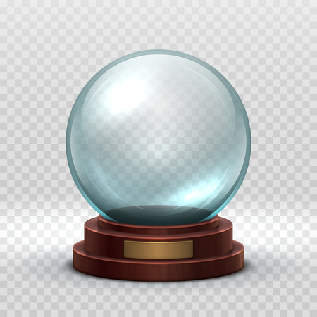 Christmas snowglobe. Crystal glass empty ball. Magic xmas holiday snow ball vector mockup isolated. Illustration of dome souvenir transparency, sphere ball transparent glossy Vetores