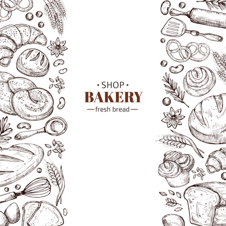 Bakery vector retro background with hand drawn doodle bread. Illustration bakery and bread shop, vintage drawing poster Vectores