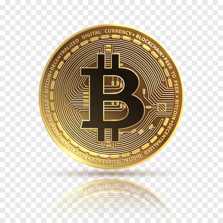 Bitcoin. Golden cryptocurrency coin. Electronics finance money symbol. Blockchain bitcoin isolated icon. Bit coin isolated, bit-coin physicalbitcoin illustration