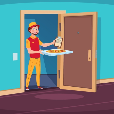 Food delivery concept. Cartoon guy deliver with pizza in home doorway. Vector illustration. Delivery pizza food, fast deliver courier