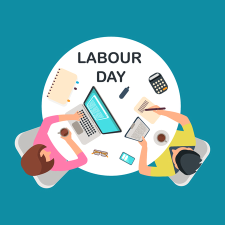 Top view people couple work at table. Labour day vector banner illustration