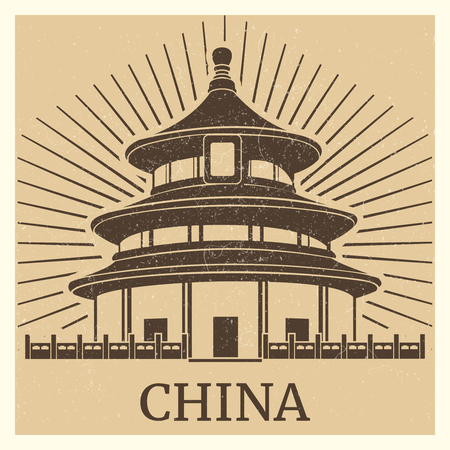 Asian travel poster and banner with chinese traditional home silhouette. Vector illustration
