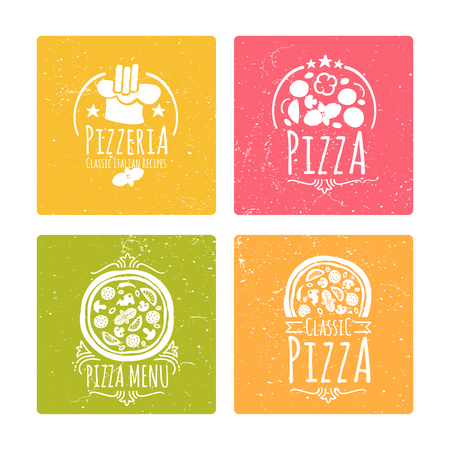 Set of grunge cafe pizzeria labels or badges. Banners with vector doodle pizza elements. Vector illustration