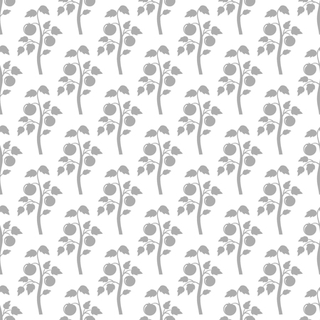 Grey tomato plant seamless pattern. Tomato silhouettes harvest background. Vector illustration
