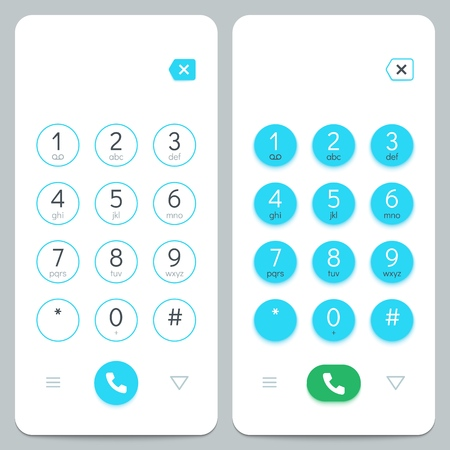 Phone keypad. Smartphone screen keyboard with numbers. Isolated vector set. Number display cellphone, screen with button keyboard illustration