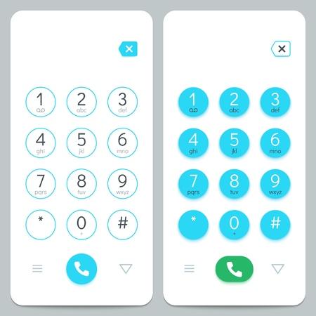 Teclado telefónico. Teclado de pantalla de smartphone con números. Conjunto de vectores aislados. Número de teléfono móvil con pantalla, pantalla con ilustración de teclado de botón