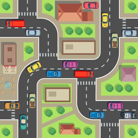 Naadloze stadsplattegrond. Bovenaanzicht gebouw en straat met auto's en vrachtwagens. Stedelijk plan vector eindeloze textuur. Weg- en bouwarchitectuur, straatvervoer naadloze illustratie
