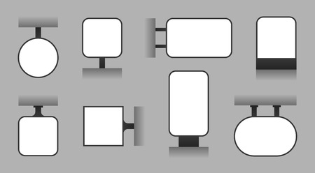 Letrero publicitario en blanco, caja de luz al aire libre, señalización de tienda y plantilla de vector de tablero de visualización. Tablero de negocios de visualización vectorial para mensaje, ilustración de panel de caja de luz