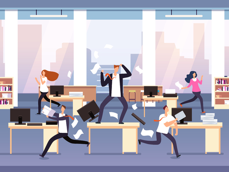 Angry boss. Chaos in office with employees in panic. Businessman in stress and deadline vector concept. Illustration of running employee, furious management workday