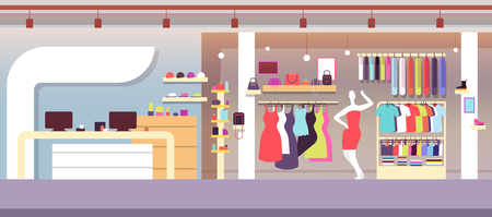 Fashion shop. Boutique fashion store with female clothes and women bags. Shopping mall vector interior. Illustration of wardrobe shop interior, illustration retail with clothes