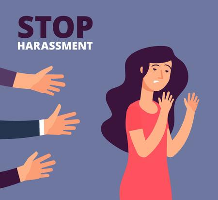 Concepto de acoso sexual. Manos de mujer y hombre. Detener el abuso, contra el fondo del vector de violencia. Detener el acoso y el abuso, sin ilustración de violencia