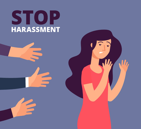 Sexual harassment concept. Woman and mans hands. Stop abuse, against violence vector background. Stop harassment and abuse, no sexual violence illustration