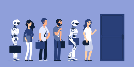 Robots and people unemployment. Android and man competition for job. Recruitment vector concept. Job, recruitment robotic and human illustration
