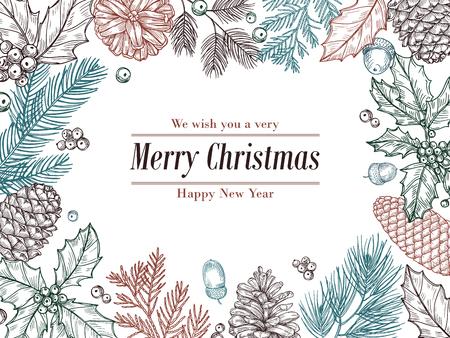 Invitación vintage de Navidad. Ramas de pino abeto de invierno, borde floral de piñas. Navidad, tarjeta de vector de marco de bosquejo botánico de Navidad. Marco de rama de pino para ilustración navideña de vacaciones