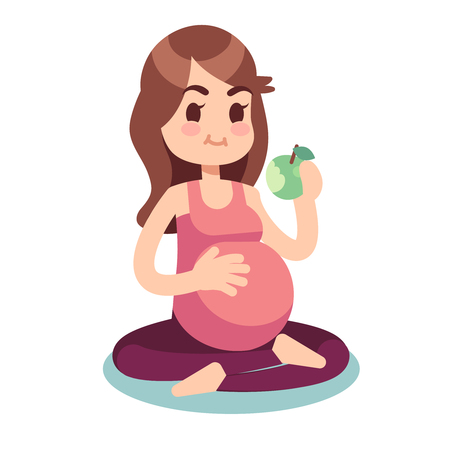 Pregnancy diet concept. Pregnant eating apple in lotus pose. Healthy food and fitness lifestyle vector illustration. Pregnant female, pregnancy woman diet