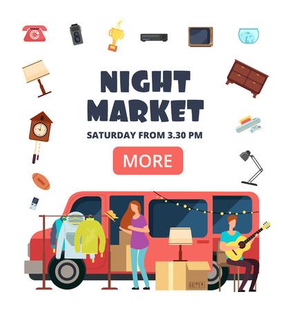 Mercato notturno, poster di invito del bazar di strada. Volantino di vettore di mercatini delle pulci. Mercato delle pulci per hipster, illustrazione di vendita sul mercato