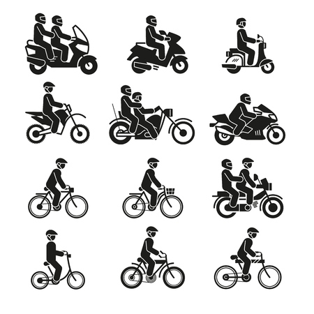 Motorcycles and bicycles icons. Moto vehicles with persons biker and cyclist vector pictograms isolated on white background. Illustration of motorcycle transport, bike and bicycle Ilustração