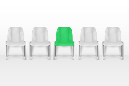 Vacant chairs. Empty office armchairs near office white wall. Job recruiting vector concept. Job chair empty, vacant place vacancy illustration Foto de archivo - 107873101