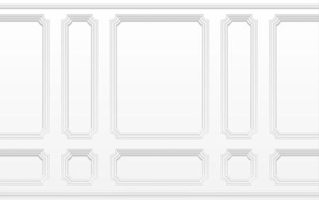 Witte muur met lijstkaders. Klassiek interieur met sierlijsten. Naadloze vector achtergrond. Architectuur gieten achtergrond, interieur met gips decoratie muur illustratie