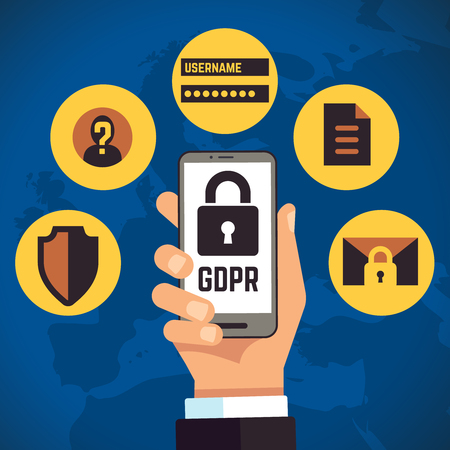 GDPR. General Data Protection Regulation internet identity european business vector concept. Regulation digital info, lock and protection illustration