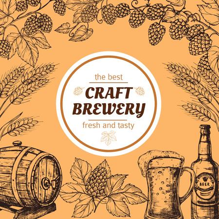 Manifesto di vettore dell'annata del birrificio di schizzo di Doodle con birra e luppolo. Schizzo del birrificio di birra, pub di alcol, illustrazione della bandiera dell'oktoberfest