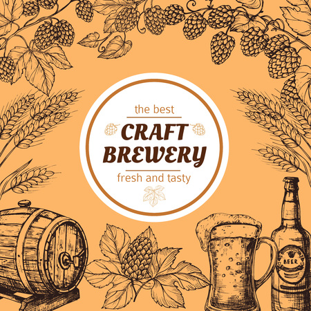 Doodle sketch brewery vintage vector poster with beer and hops. Beer brewery sketch, alcohol pub, oktoberfest banner illustration Illustration